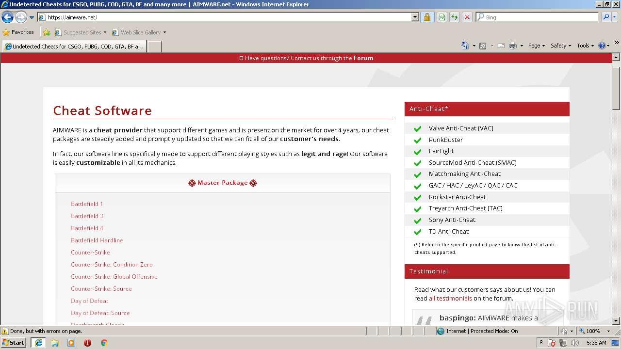 http://www aimware net | ANY RUN - Free Malware Sandbox Online