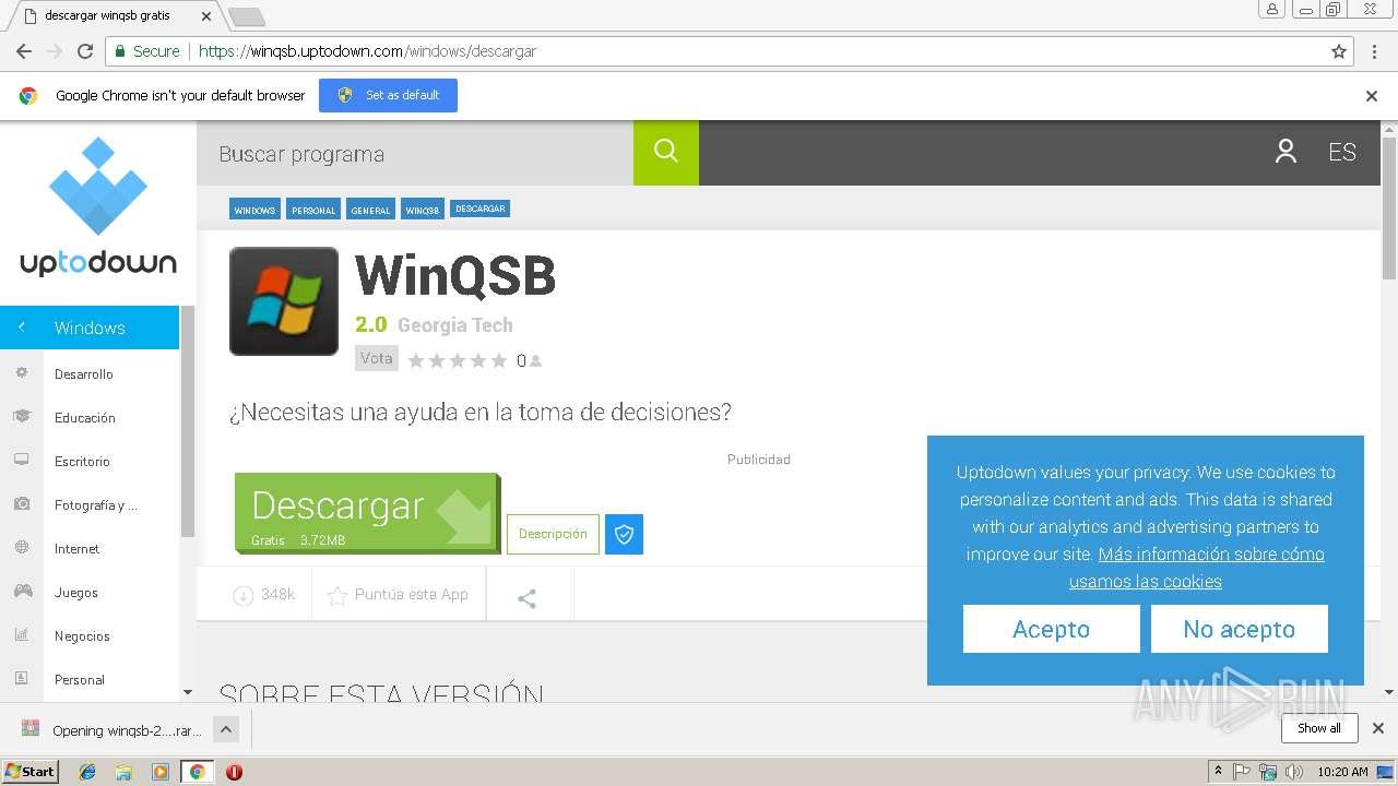 http://Winqsb uptodown com | ANY RUN - Free Malware Sandbox Online