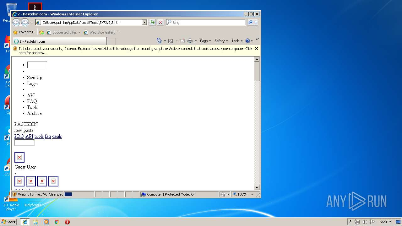http://www pastebin com/Zk7Jv9j2 - Interactive analysis - ANY RUN