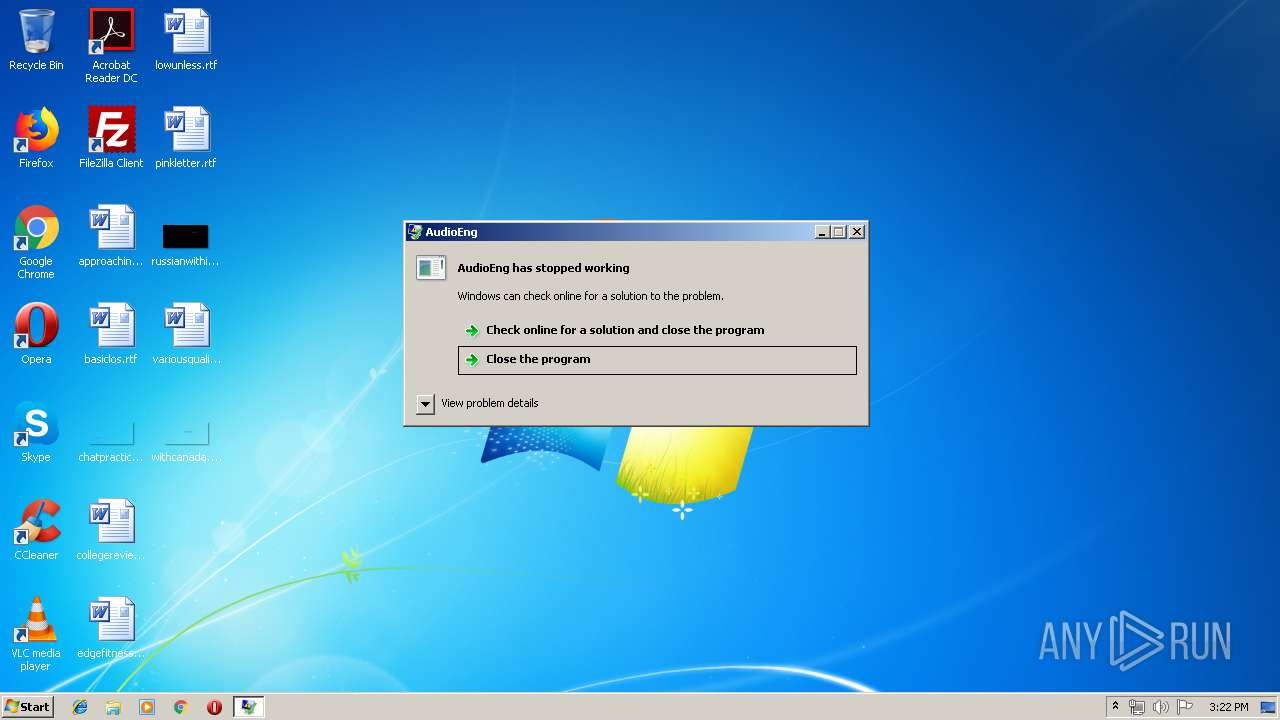 Screenshot of 8763edda4666d24bb63b8b7ffcca35cc2aaf360b09ef052f590b9926263ddb7f taken from 21139 ms from task started