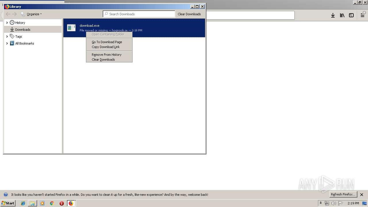 http://fid hognoob se/download exe   ANY RUN - Free Malware Sandbox