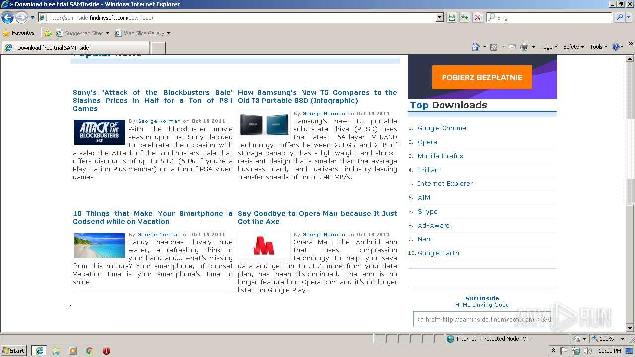 http://saminside findmysoft com/ | ANY RUN - Free Malware Sandbox Online