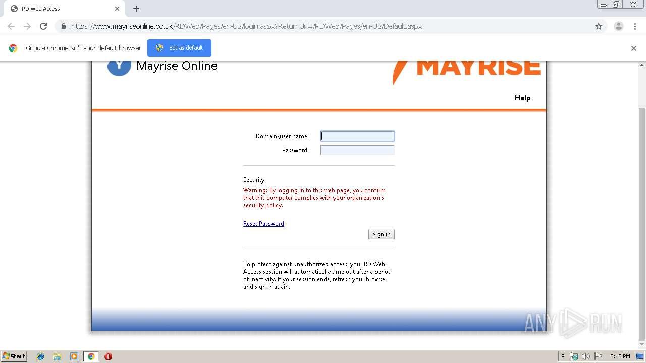 https://www mayriseonline co uk | ANY RUN - Free Malware