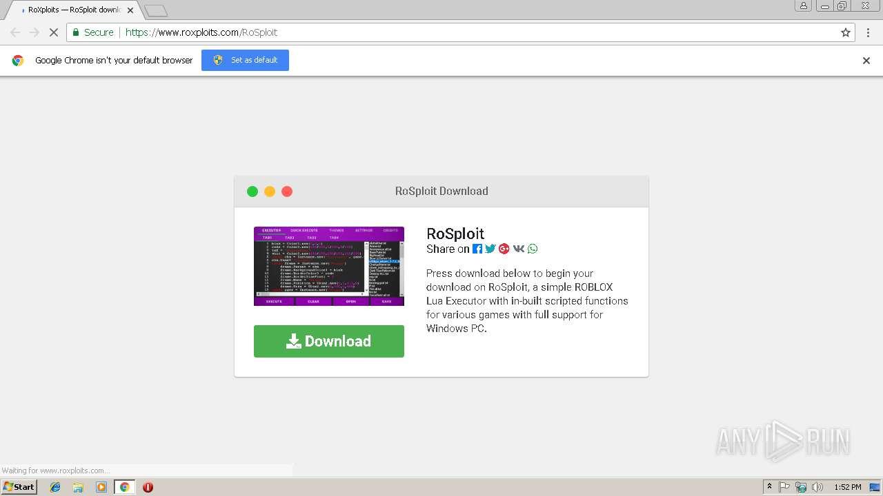 https://www roxploits com/RoSploit | ANY RUN - Free Malware