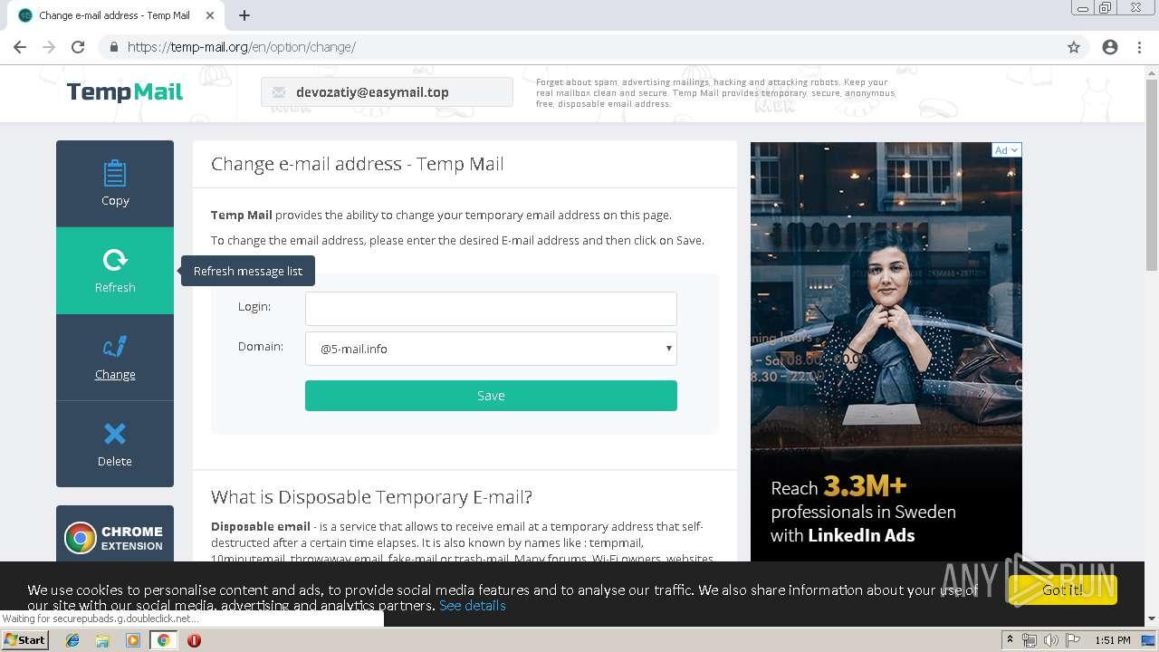 http://temp-mail org | ANY RUN - Free Malware Sandbox Online
