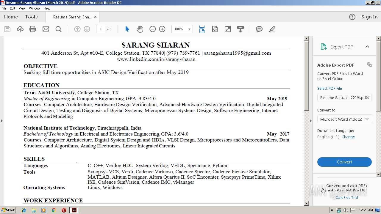 Resume Sarang Sharan (March 2019) pdf