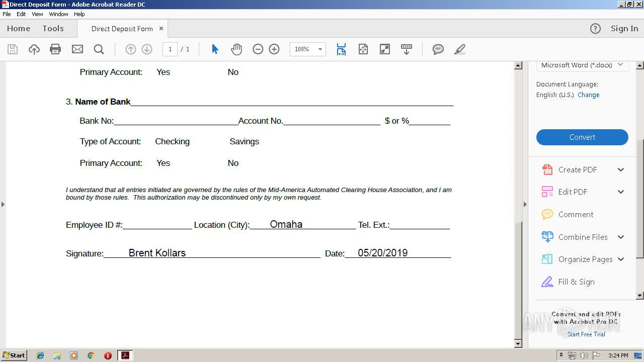 2019 Direct Deposit Form pdf