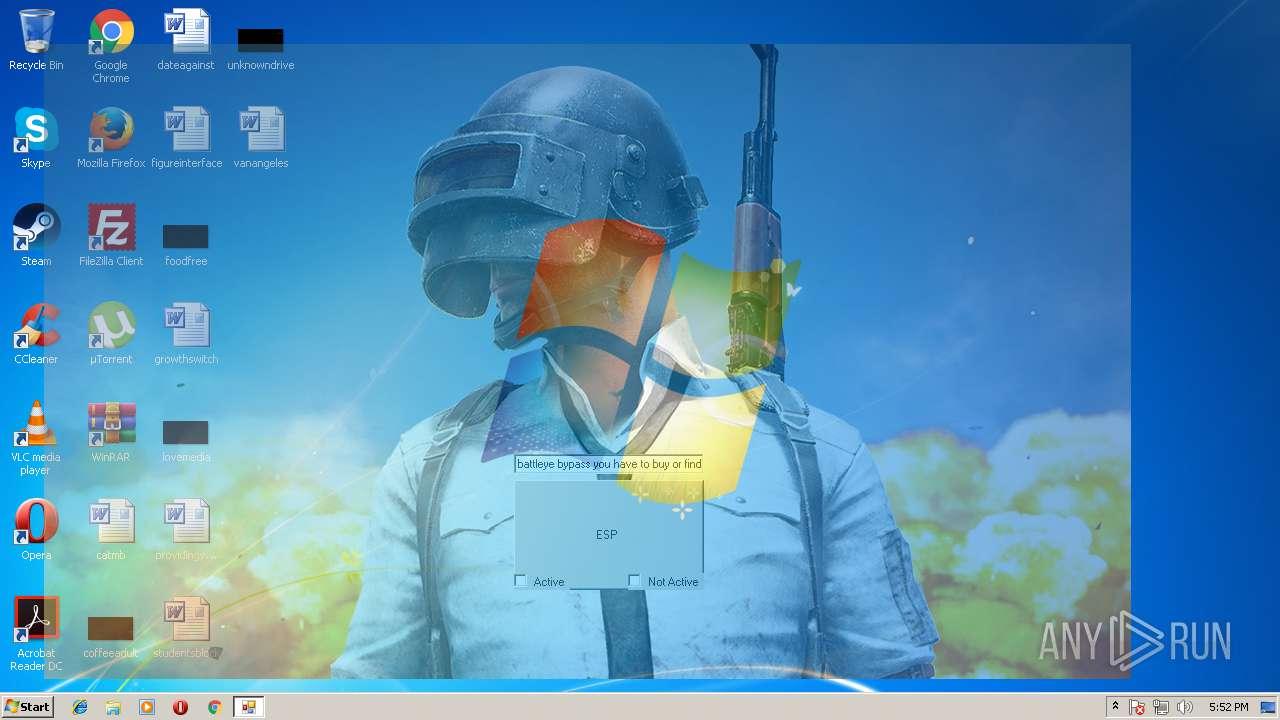 PUBG ESP exe (MD5: 67906643B91192F353E06FFA1611AE8F) - Interactive