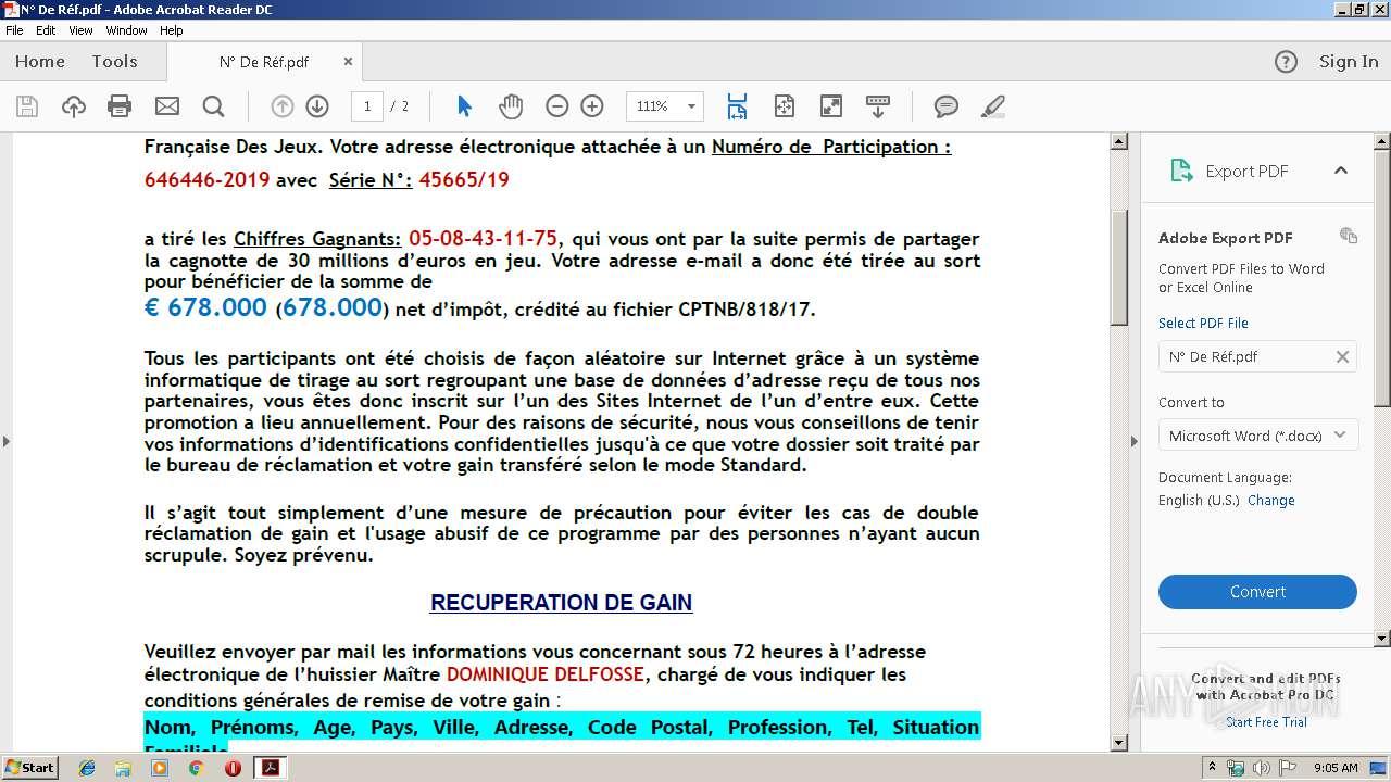 N° De Réf pdf (MD5: E8A03B73942C9802F8D892822F749C20