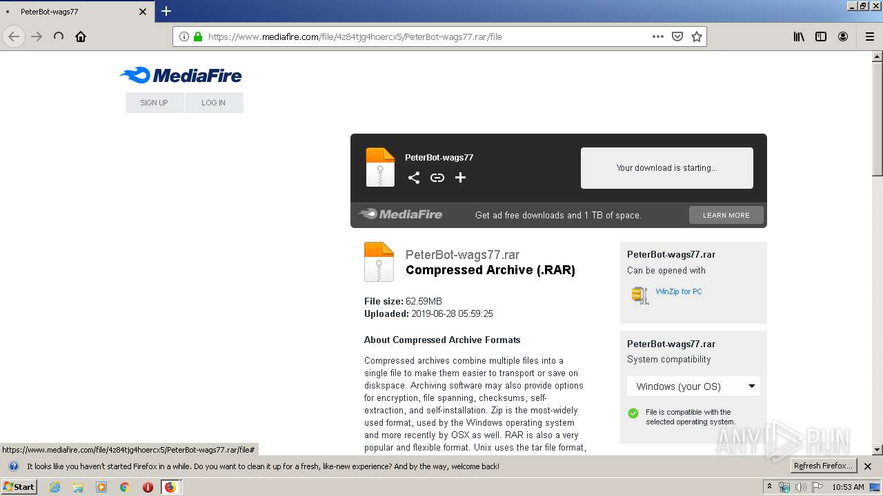https://www.mediafire.com/file/4z84tjg4hoercx5/PeterBot-wags77.rar/file |  ANY.RUN - Free Malware Sandbox Online
