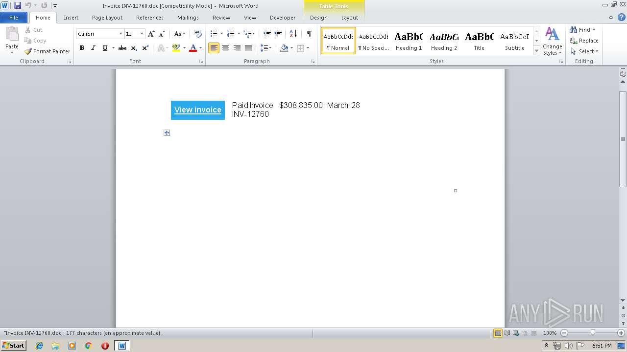 Invoice INV-12760 doc (MD5: 880D7A4DE1BCF390F3A1316E0332C9E8