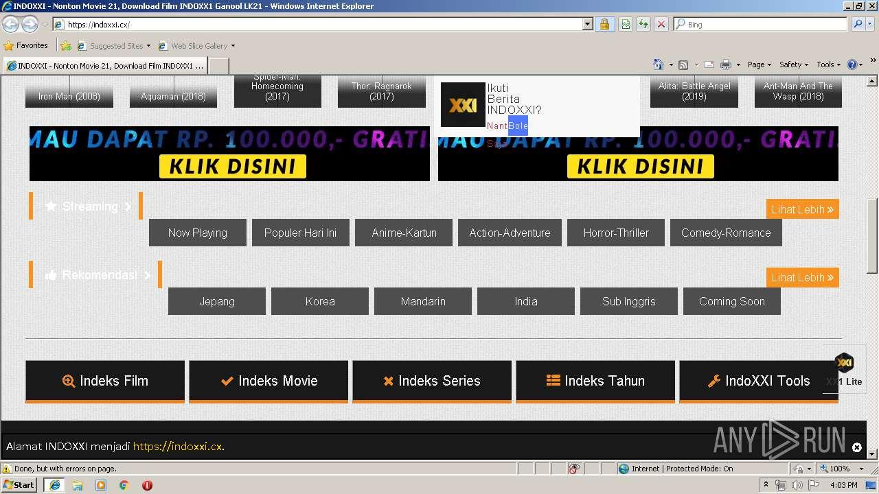 http://www indoxxi cx | ANY RUN - Free Malware Sandbox Online