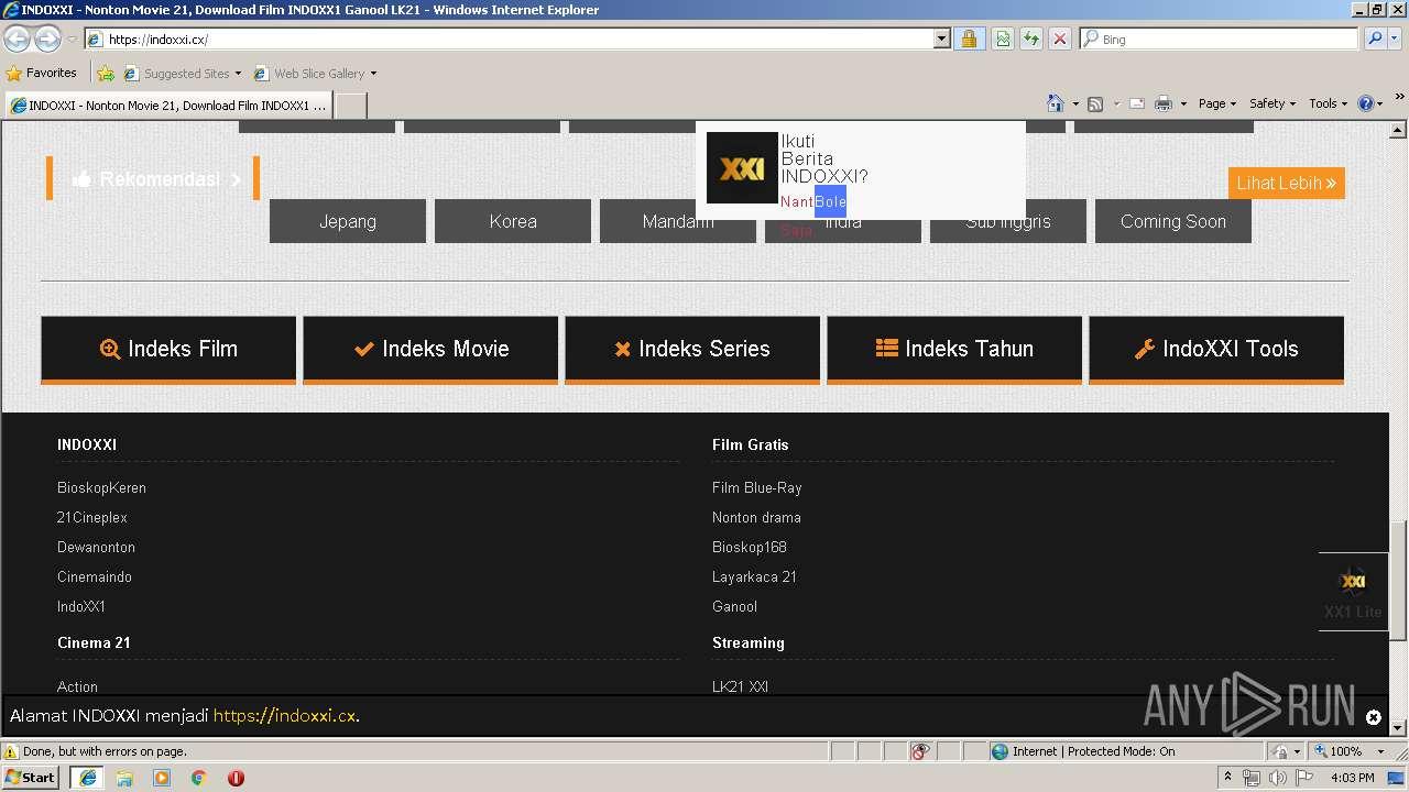 http://www indoxxi cx   ANY RUN - Free Malware Sandbox Online