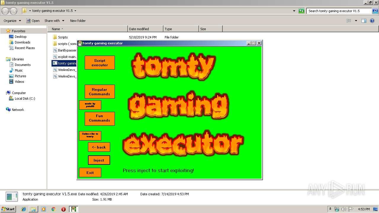 Download Roblox Lua C Executor Online D942d86ed4a387947324251ec967b5db12e082b0658552670e7b52d353b5677b Any Run Free Malware Sandbox Online