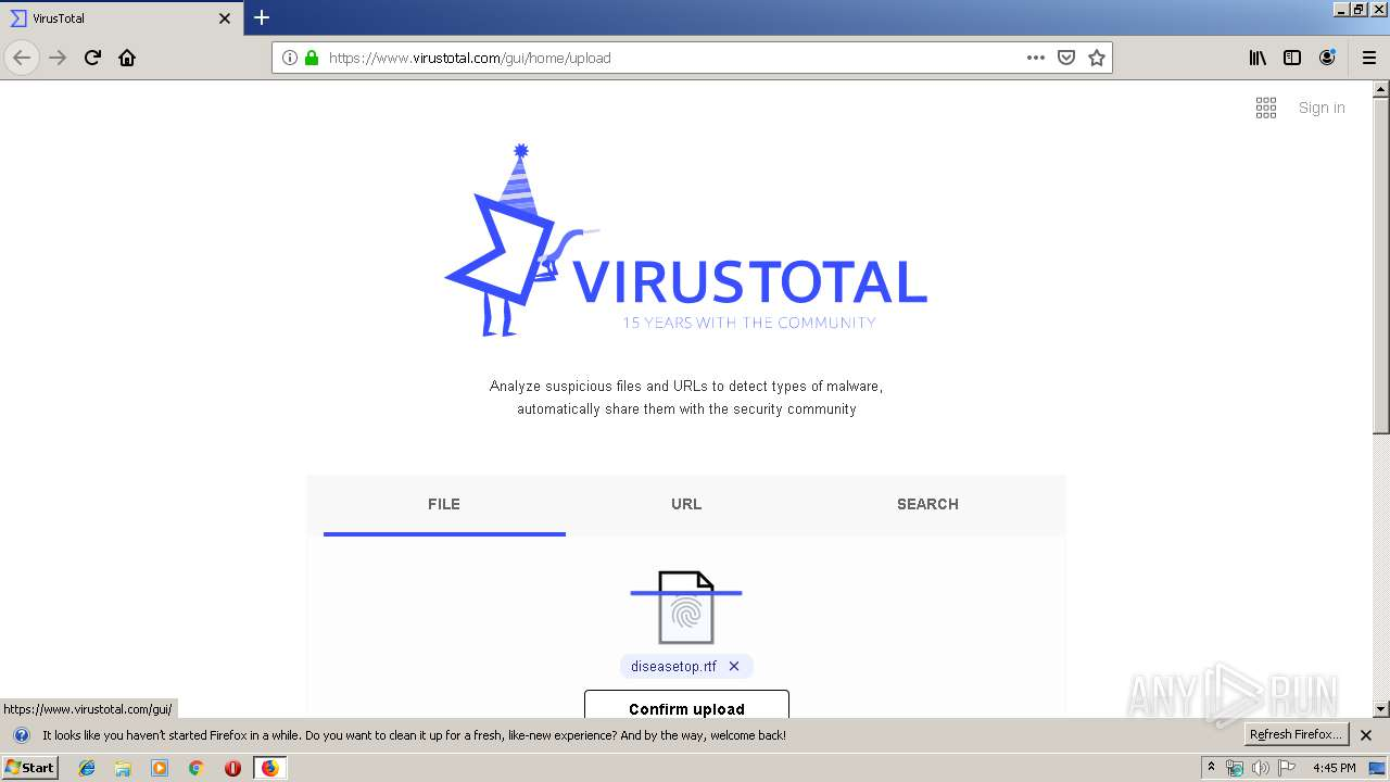 https://www virustotal com/gui/home/upload | ANY RUN - Free