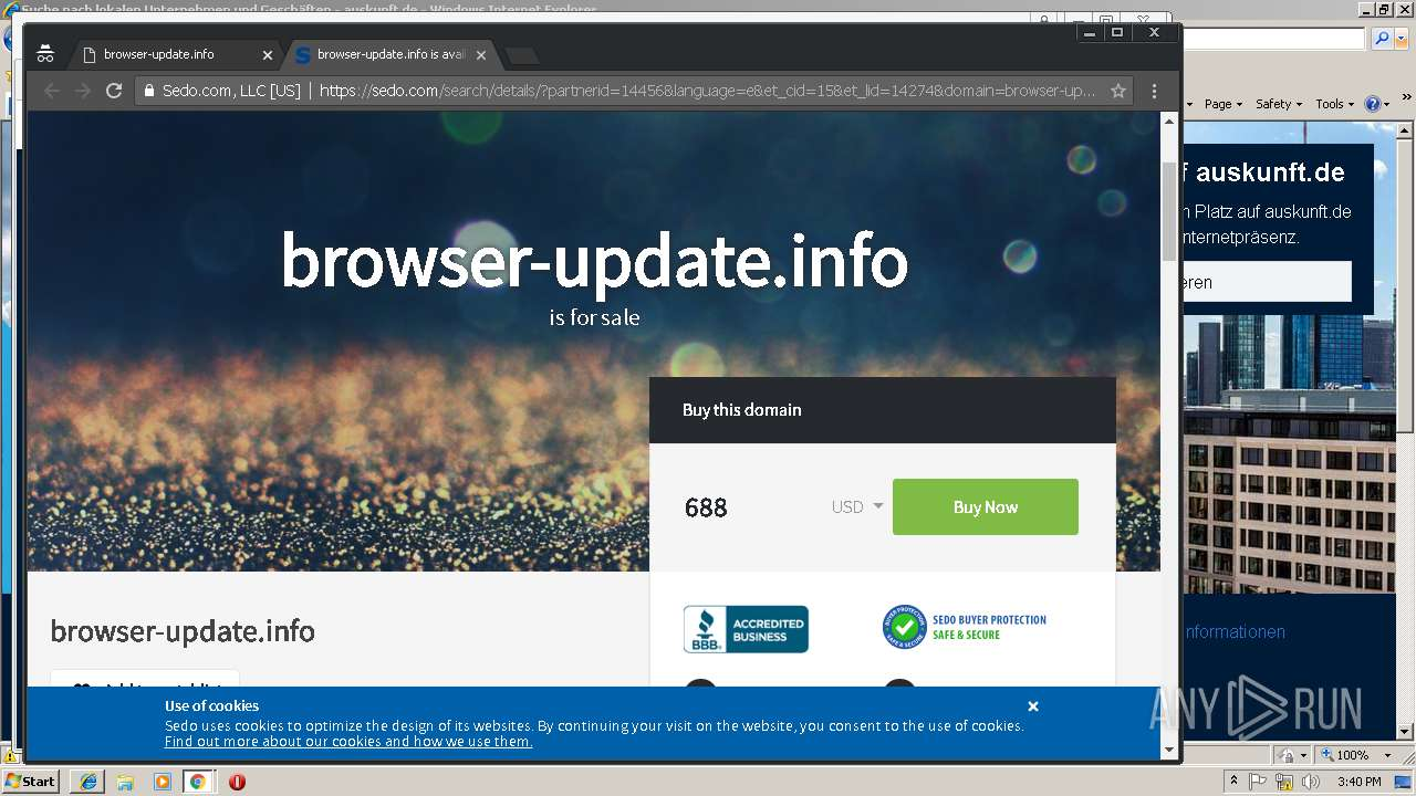 browser update info any run free malware sandbox onlinescreenshot of unknown taken from 113277 ms from task started