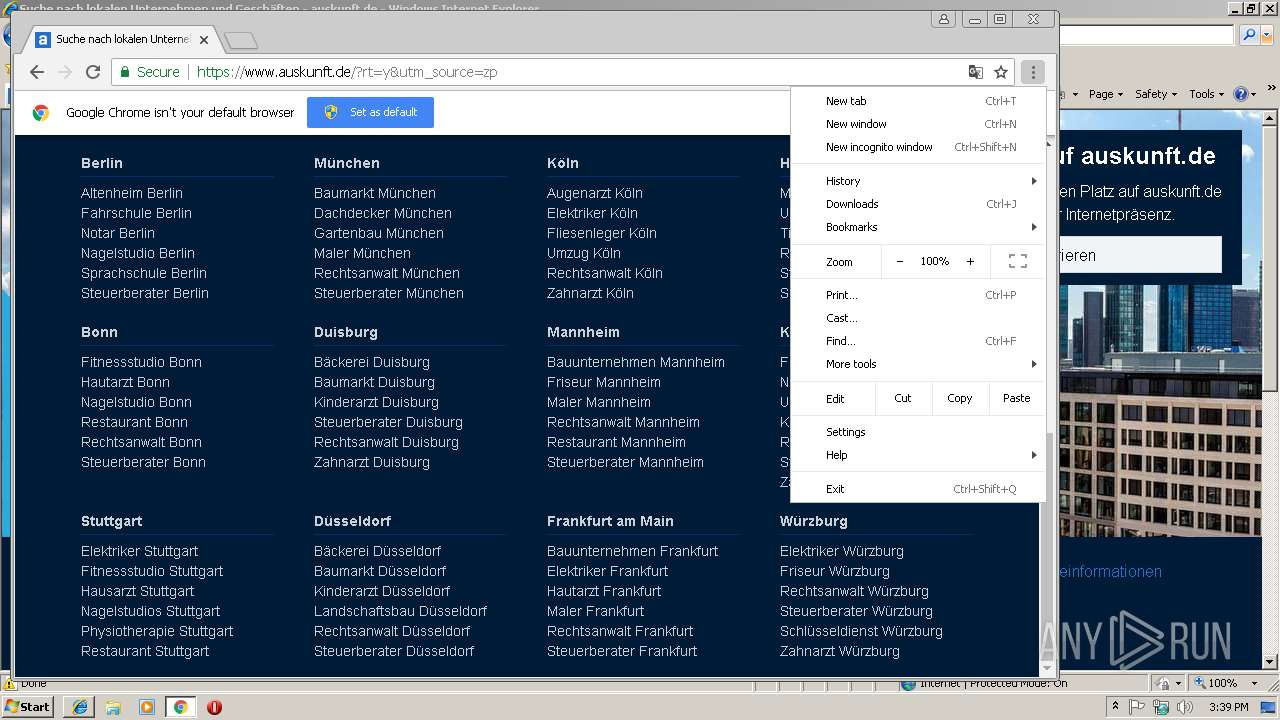 browser update info any run free malware sandbox onlinescreenshot of unknown taken from 59786 ms from task started