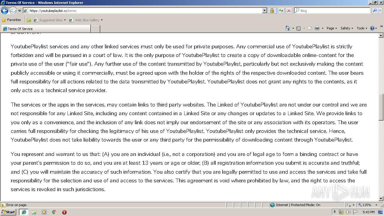https://youtubeplaylist.cc | ANY.RUN - Free Malware Sandbox Online