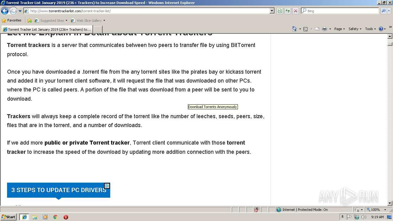 Http Www Torrenttrackerlist Com Torrent Tracker List Any Run Free Malware Sandbox Online