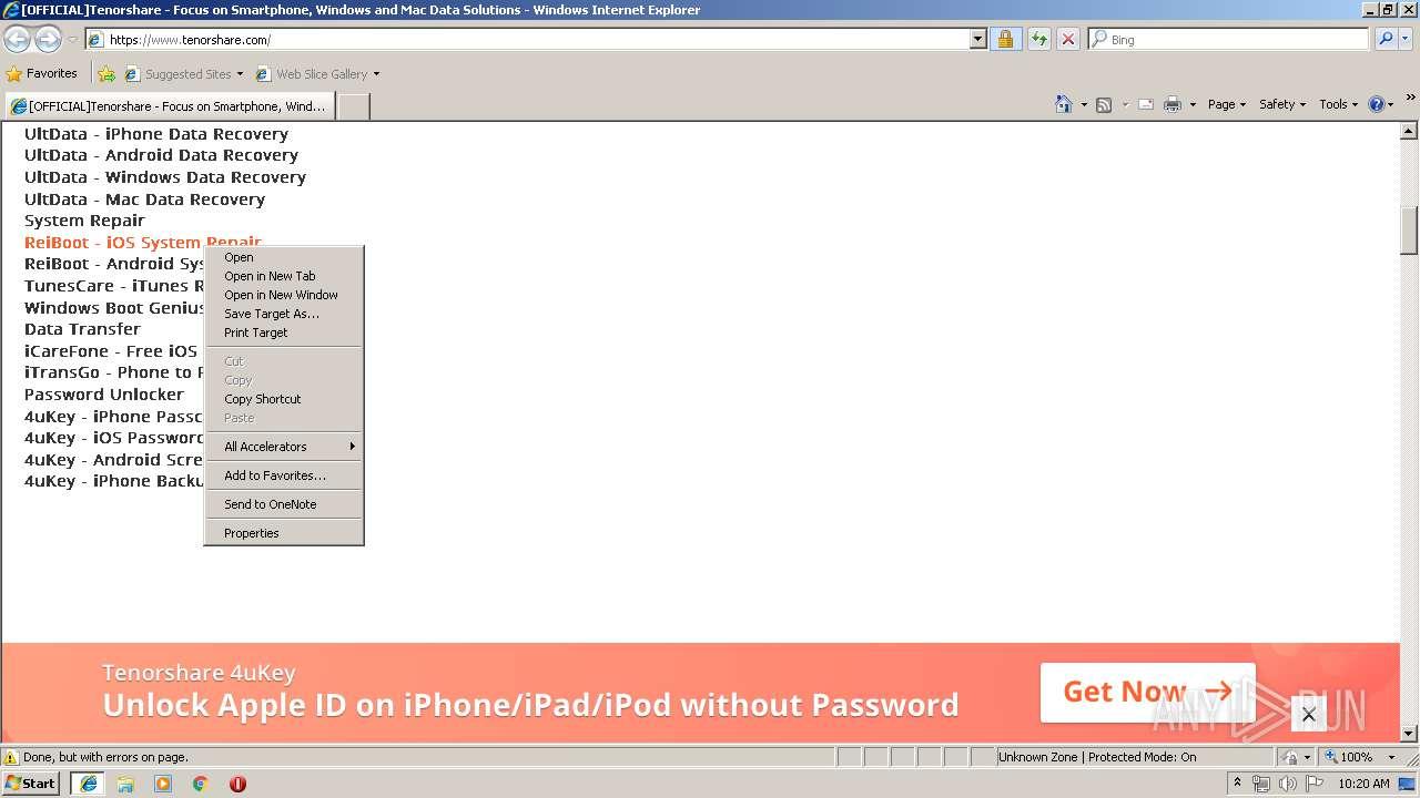 http://www.tenorshare.com | ANY.RUN - Free Malware Sandbox Online