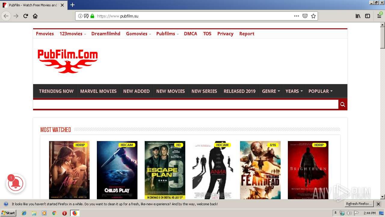 http://player pubfilm ru | ANY RUN - Free Malware Sandbox Online