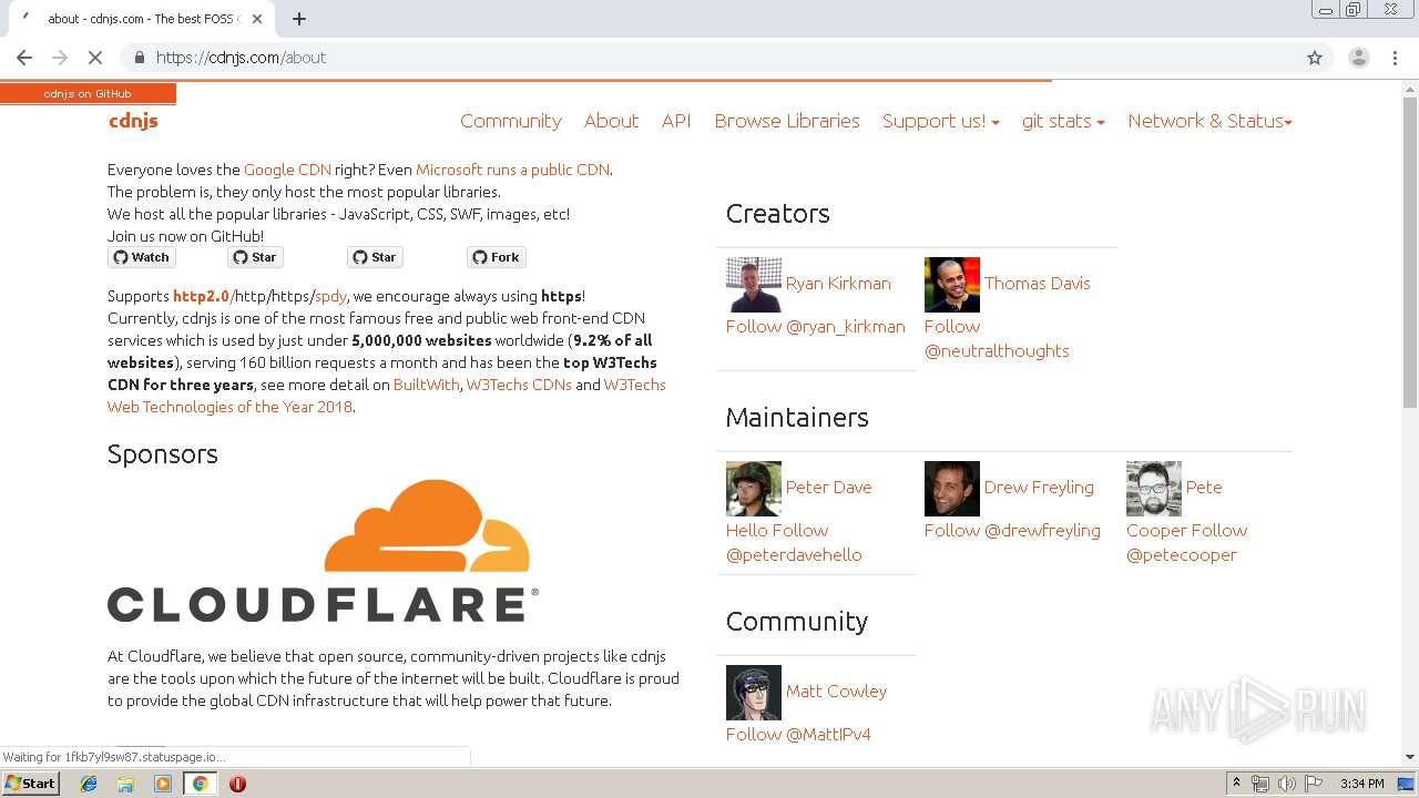 https://cdnjs cloudflare com - Interactive analysis - ANY RUN