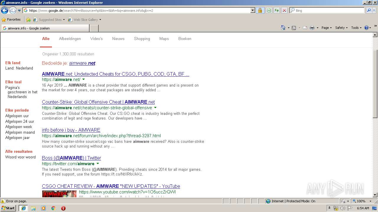 http://www aimware info/qcisKz/ | ANY RUN - Free Malware