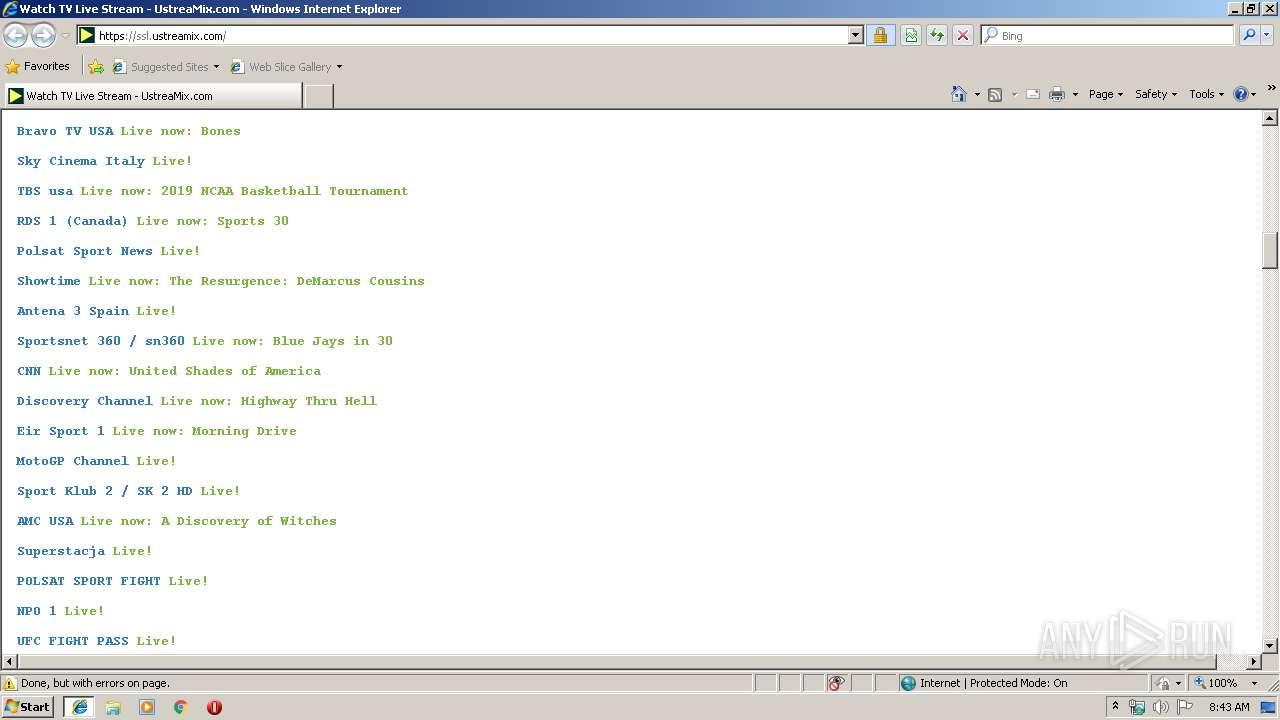 http://ustreamyx com | ANY RUN - Free Malware Sandbox Online
